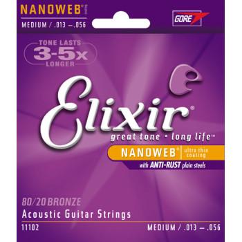 Elixir 11102 NANOWEB Комплект струн для акустической гитары Medium бронза 80/20 13-56
