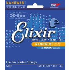 Elixir 12002 NANOWEB Комплект струн для электрогитары Super Light 9-42