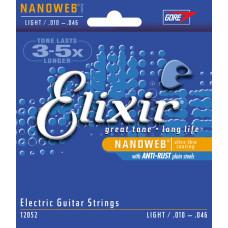 Elixir 12052 NANOWEB Комплект струн для электрогитары Light 10-46