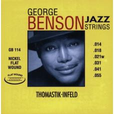 Thomastik GB114 George Benson Jazz Комплект струн для акустической гитары плоская оплетка 14-55