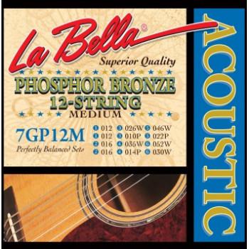 La Bella 7GP-12M Phosphor Bronze Комплект струн для 12-струнной акустической гитары ф/б 12-52
