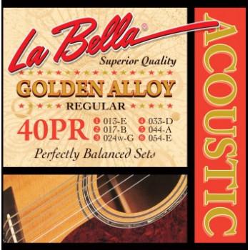 La Bella 40PR Golden Alloy Комплект струн для акустической гитары бронза Regular 13-54