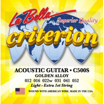 La Bella C500S Criterion Комплект струн для акустической гитары бронза Light 12-52