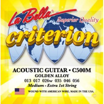 La Bella C500M Criterion Комплект струн для акустической гитары бронза Medium 13-56