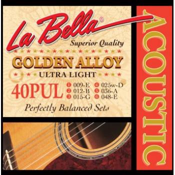 La Bella 40PUL Golden Alloy Комплект струн для акустической гитары бронза Ultra Light 9-48