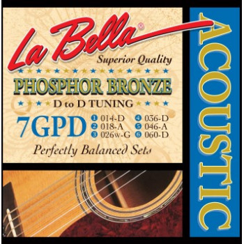 La Bella 7GPD Phosphor Bronze Комплект струн для акустической гитары ф/б D to D Tuning 14-60