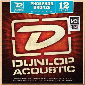 Dunlop DAP1254 Комплект струн для акустической гитары фосф.бронза Light 12-54
