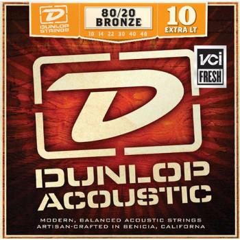 Dunlop DAB1048 Комплект струн для акустической гитары бронза 80/20 Extra Light 10-48