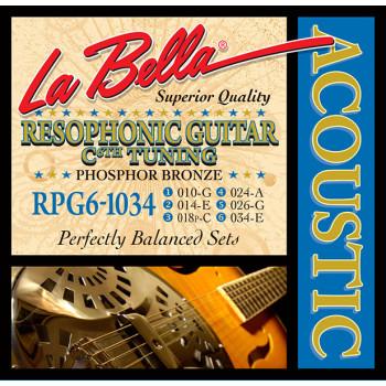 La Bella RPG6-1034 Комплект струн для резонаторной гитары фосфорная бронза 10-34 6-C