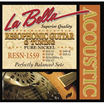 La Bella RESN-1559 Pure Nickel G Комплект струн для резонаторной гитары никель 15-59
