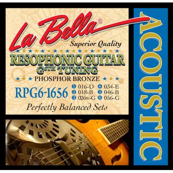 La Bella RPG6-1656 Комплект струн для резонаторной гитары фосфорная бронза 16-56 6-G