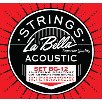 La Bella BG-12 Комплект струн для 12-струнной гитары баритон фосф.бронза 15-80