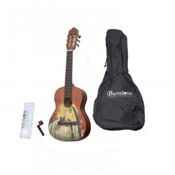 Barcelona CG10K/COLLINE 1/4 - Набор: классическая гитара детская, размер 1/4 и аксессуары