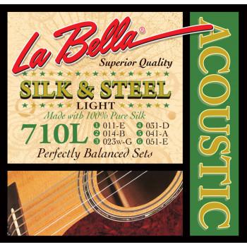 """La Bella 710L Комплект струн для акустической гитары """"шелк и сталь"""" 11-51"""