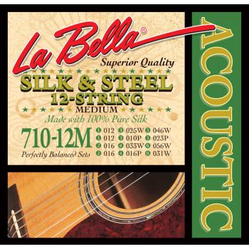 """La Bella 710-12M Medium Комплект струн для акустической 12-струнной гитары """"шелк и сталь"""" 12-56"""