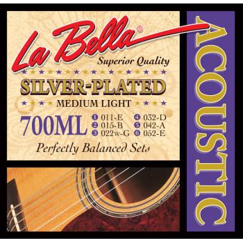La Bella 700ML Комплект посеребренных струн для акустической гитары 011-052