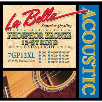 La Bella 7GP12XL Комплект струн для акустической 12-струнной гитары 9-48