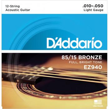 D`Addario EZ940 AMERICAN BRONZE 85/15 Струны для 12-струнной акустической гитары Light 10-50 D`Addario