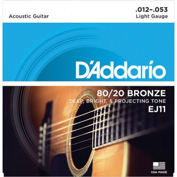 D`Addario EJ11 BRONZE 80/20 Струны для акустической гитары бронза Light 12-53 D`Addario