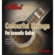 Alice AW435C-SL AW435С-SL Комплект струн для акустической гитары цветные медь 11-52 [12]